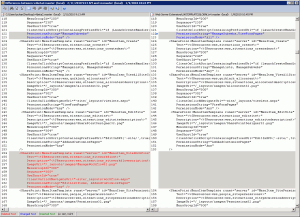 Screenshot of differences between the public beta and RC v4.master pages.